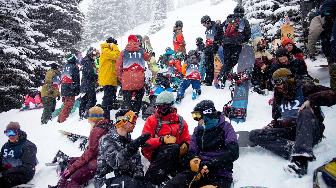 Maybe the most snowboarders ever gathered at one time at Crystal Mountain.