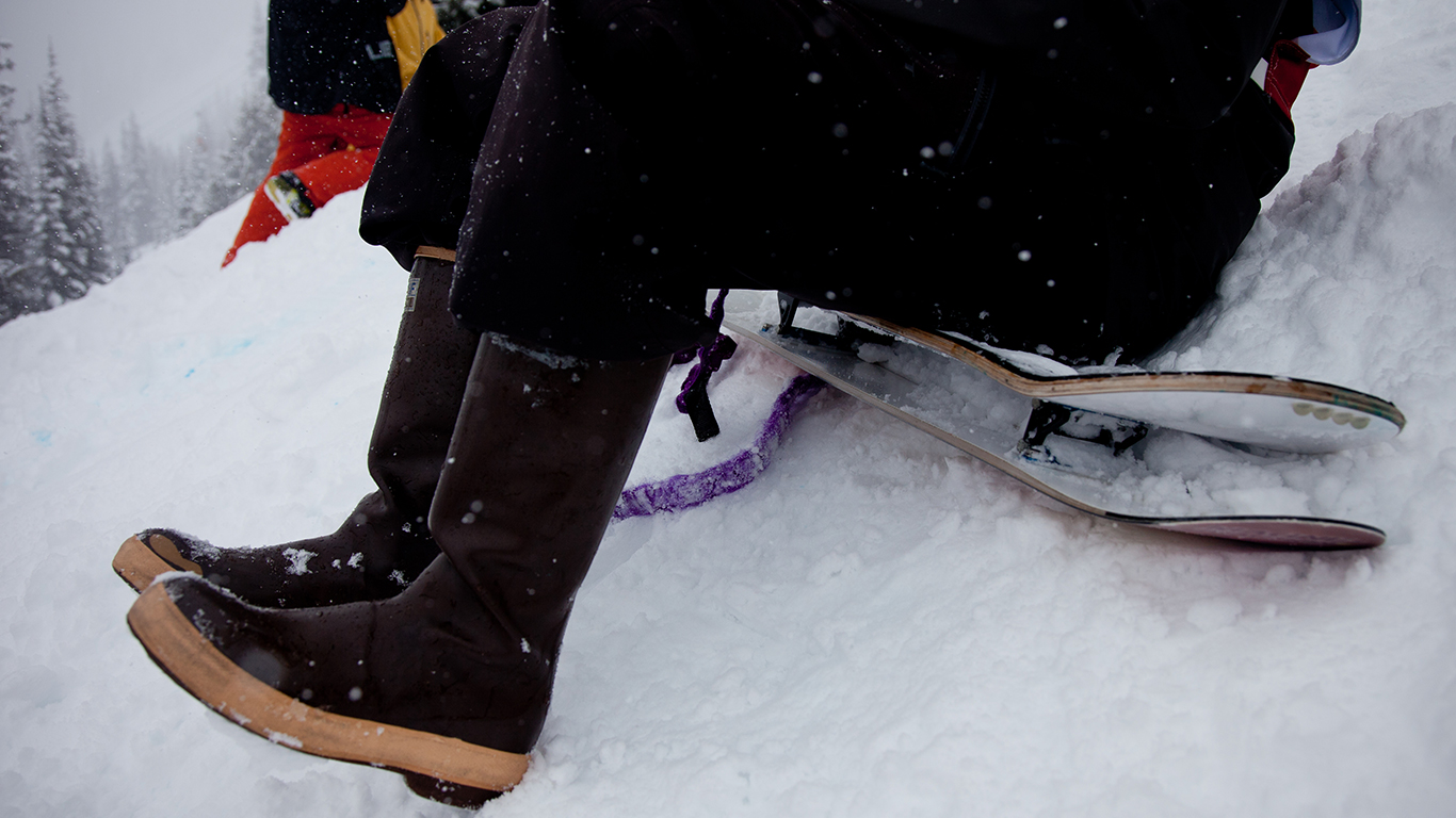 Snow skates and Xtra Tuffs. This event was oozing NW style.