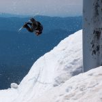 Sidehit euphoria? Close enough. Andy Glader hollywooding under the Palmer chairlift.
