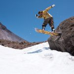 Casey Mitchell can't get enough of Mt. Hood's sharp rocks. Here he is hitting one from the backside, too.