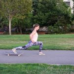 Skateboard Reverse Lunge Tip: Use a towel on a smooth surface like hardwood floors to substitute for a skateboard.