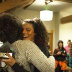 Jill Perkins embracing Hana Beaman while accepting her award for winning the skate jam. Photo: Jessie Carlson