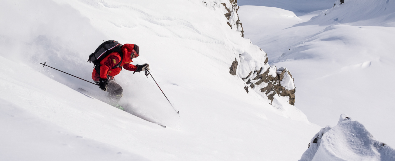 Tommy Moe skiing in Alaska's Tordrillo Mountains.