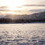 Sunset and snow crystals on Judd Lake, a few steps from the front door of TML's lodge.