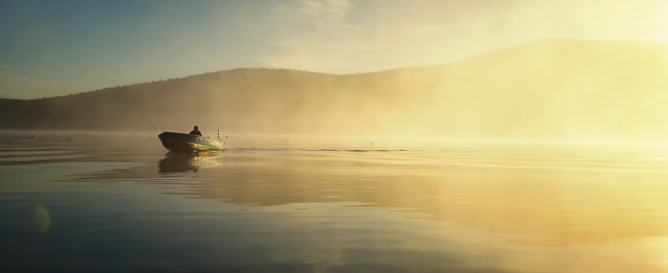A man flyfishing in Canada's Northwest Territories