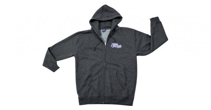 Zip-up TFFJ hoodie.