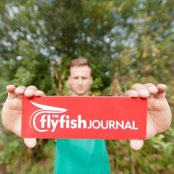 The Flyfish Journal red bumper sticker.