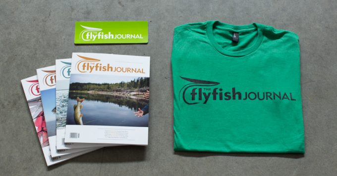 The Flyfish Journal subscription package with green shirt.
