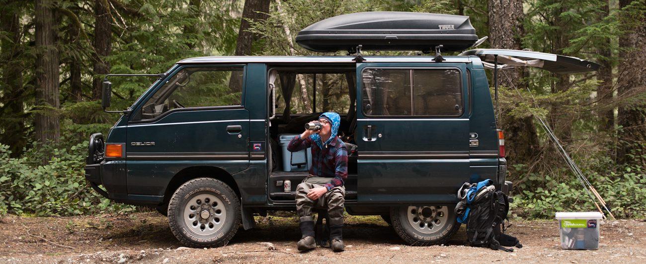 1989 Mitsubishi Delica, the ultimate fishing/van life rig.