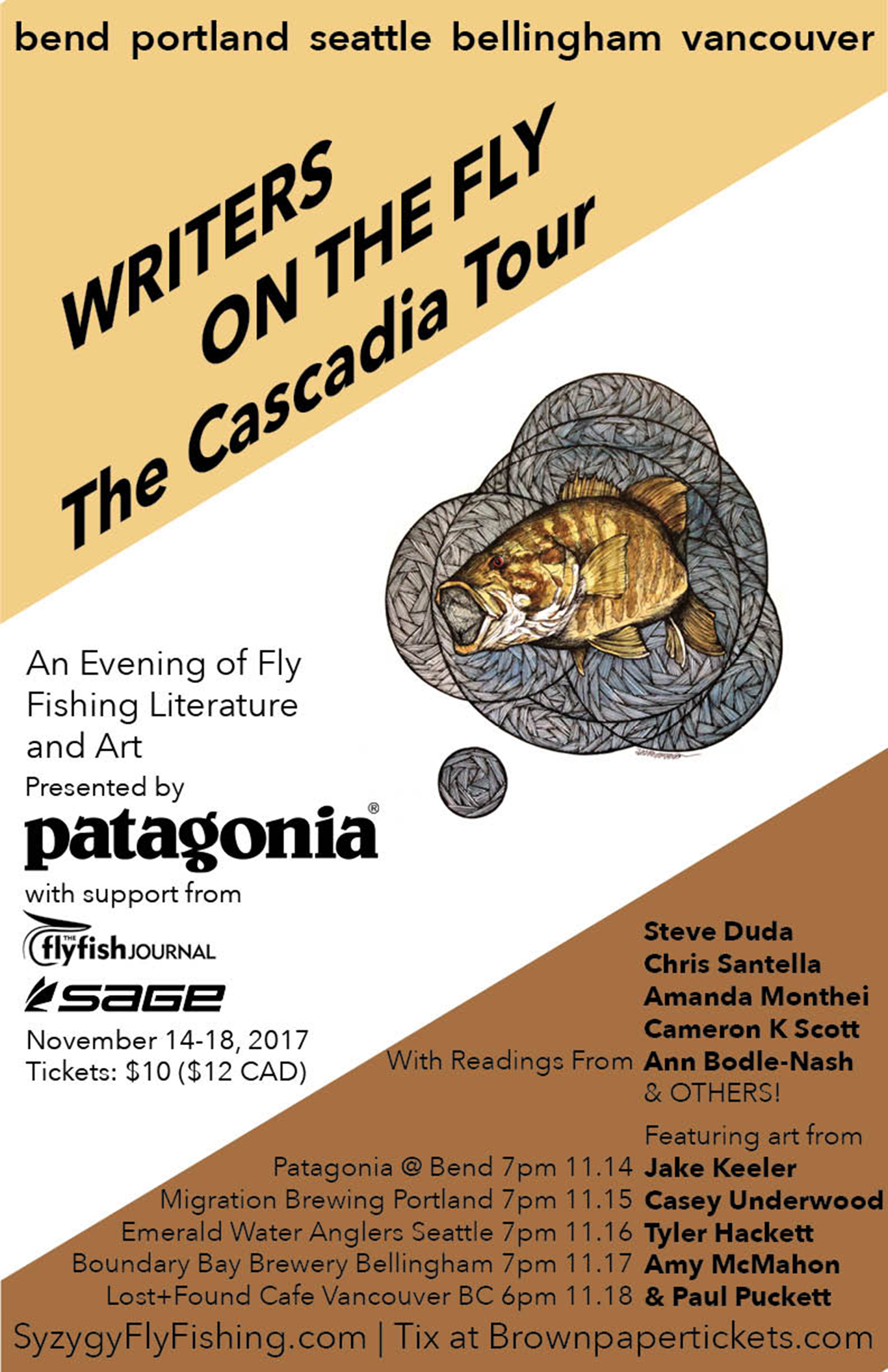 Writers on the Fly, reading tour, cascadia tour, flyfishing